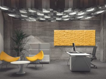 Pietra electric creative radiators make a functional feature in an office